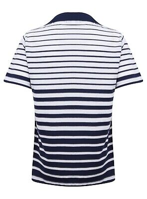 Ladies Polo Shirt Striped Cotton Blend New Button Up Collar Womens Pocket Summer 11