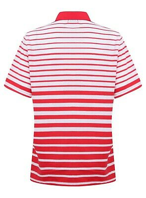 Ladies Polo Shirt Striped Cotton Blend New Button Up Collar Womens Pocket Summer 5