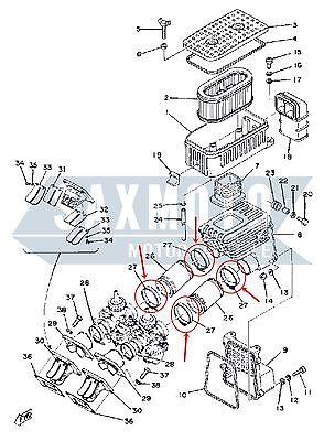 YAMAHA RD250 RD400 1A2 1A3 Befestigungssatz Ansauggummi (Carb To Airbox Clips)