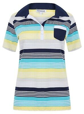 Ladies Polo Shirt Striped Cotton Blend New Button Up Collar Womens Pocket Summer 8
