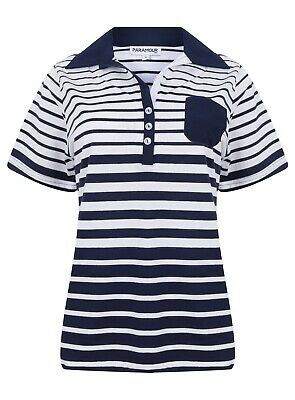 Ladies Polo Shirt Striped Cotton Blend New Button Up Collar Womens Pocket Summer 10