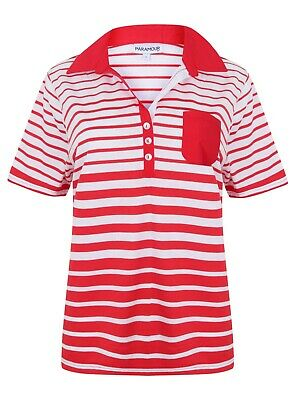 Ladies Polo Shirt Striped Cotton Blend New Button Up Collar Womens Pocket Summer 4