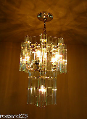 Vintage Lighting pair 1970s Mod glass rod chandeliers 2