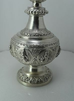 ANTIQUE 1920 PURE  STERLING SILVER Perfume / Gulab Art Figure Bottle 3