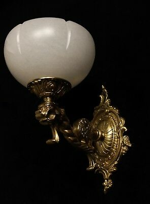 Pair of solid bronze & white real alabaster wall lights sconces with lion head 7