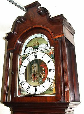 Antique Inlaid Mahogany Moon Phase Longcase Grandfather Clock FURNIVAL OLDHAM 3