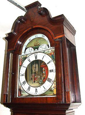 Antique Inlaid Mahogany Moon Phase Longcase Grandfather Clock FURNIVAL OLDHAM 3