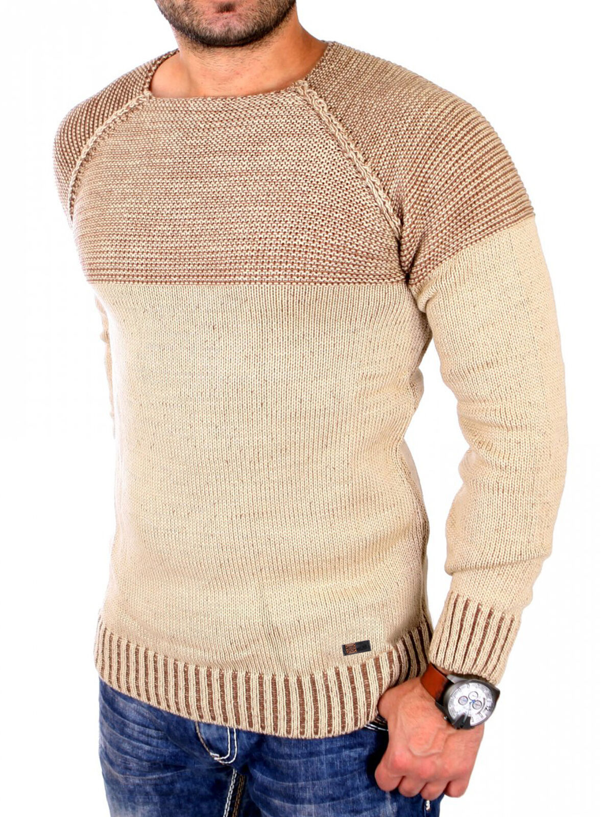 fe92fc89eedb RESLAD STRICKPULLOVER HERREN Pullover Rundhals Grobstrick Pulli Sweatshirt  16081