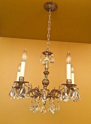 Vintage Lighting 1960s Crystal Chandelier Hollywood Regency