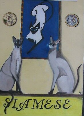 """A654     0Riginal Acrylic Aceo Painting By Ljh """"Oriental Shorthair"""" Cat Kitten 4"""