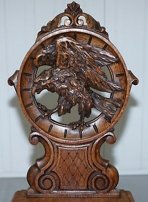 Rare 19Th Century Black Forrest Carved Hall Chair Hand Carved Hawk Bobbin Turned 4