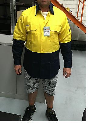5 x Hi Vis Work Shirt vented cotton drill long sleeve SAFETY WORKWEAR UNIFORM 9