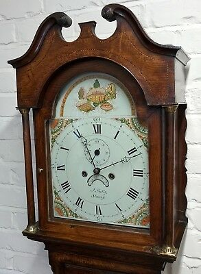 * Antique Somerset 8 DAY Inlaid Oak Grandfather Longcase Clock SULLEY of STOWEY 2