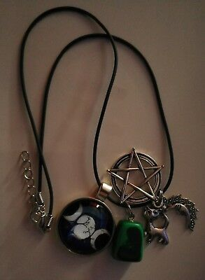Code 216 Malachite triple Goddess infused Necklace Doreen Virtue Practitioner