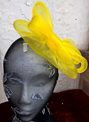 bright yellow fascinator millinery burlesque wedding hat ascot race bridal 3