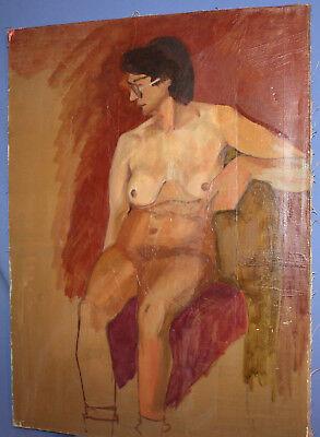 Vintage European large oil painting nude 7