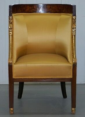 1870 French Empire Marquetry Inlaid Suite Pair Berger Armchairs & Settee Canape 8