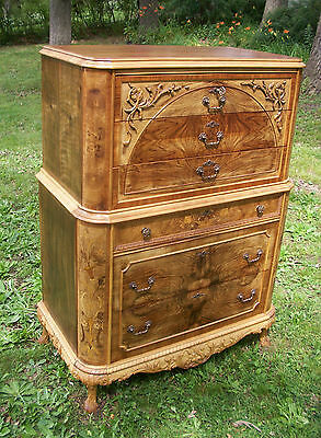 Marquetry Antique Furniture Highboy Chest Drawers Dresser French Provincial 4