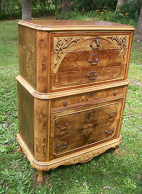 Marquetry Masterpiece Antique Furniture Chest Drawers Dresser French Provincial 4