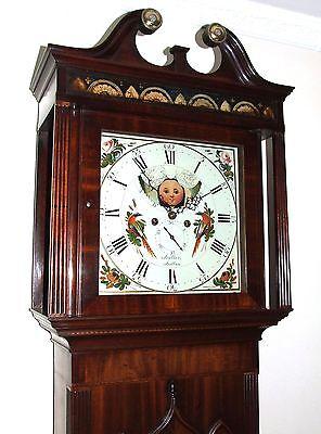 Antique Mahogany Halifax Moon Longcase Grandfather Clock by Butler BOLTON 4