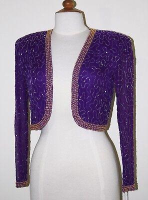 Jasdee Vintage Bolero Jacket Long Sleeve Hand Work Beading On Silk Chiffon  #245 2