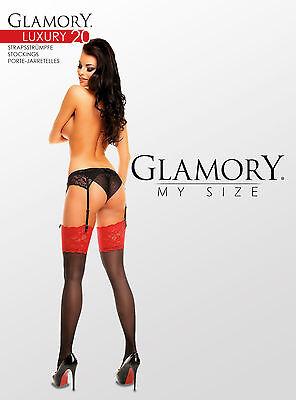 Glamory Luxury 20 Straps-Strümpfe bis Plus Große Größe 62 ein-/ zweifarbig 50137 3 • EUR 16,95