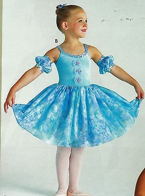 2ce97a31f6f2 ... NWT Dance Costume Ballet Dress Floral Blues w/ Sequin Trim & Sleeves  Organdy 3