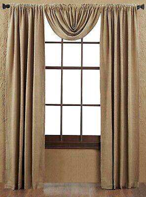 """Burlap Natural Tan 100% Cotton Rustic Country Window Balloon Valance 60"""" W 2"""