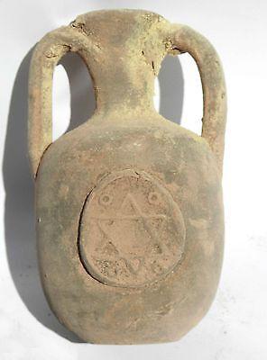Ancient Terracotta Holy Land pottery Jug Clay Jerusalem Wine Water Font Vessel 2