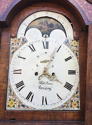 Oak & Mahogany Longcase Grandfather Clock Rolling Moon Robert jones Conwy 6