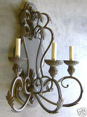 Huge Pair French Italian Antique Tuscan Style Bronze Finish Wrought Iron Sconces 3