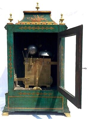 Antique Chinoiserie Green Laquered Triple Fusee Bracket Clock Chiming On 8 Bells 7