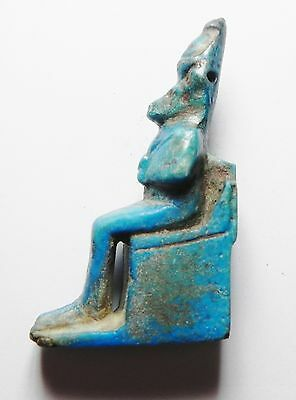 Zurqieh - Ancient Egyptian Huge Faience Amulet Of A Seated Baboon, 600 - 300 B.c 3