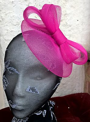 bright pink fascinator millinery burlesque wedding hat ascot race bridal party 1 2
