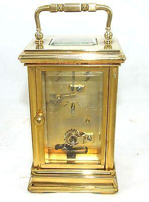ENGLISH St James LONDON Brass Carriage Mantel Clock 11 Jewels : Working (59) 7