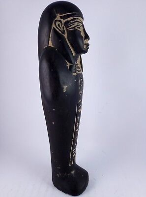 ANCIENT EGYPTIAN ANTIQUE USHABTI Shabti Hold Scarab Figure Black Stone Bc (2) 7