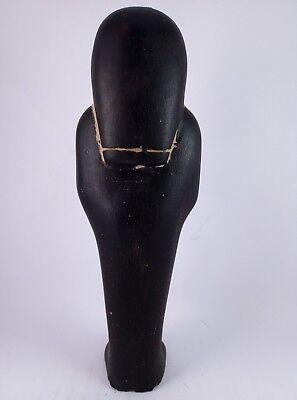 ANCIENT EGYPTIAN ANTIQUE USHABTI Shabti Hold Scarab Figure Black Stone Bc (2) 8