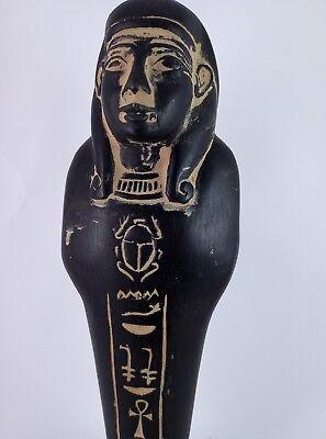 ANCIENT EGYPTIAN ANTIQUE USHABTI Shabti Hold Scarab Figure Black Stone Bc (2) 4