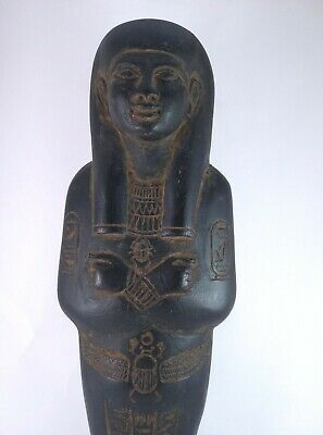 Rare ANCIENT EGYPTIAN Antique Large Statue Faience USHABTI SHABTI and Scarab Bc 2