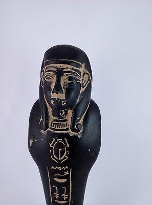 ANCIENT EGYPTIAN ANTIQUE USHABTI Shabti Hold Scarab Figure Black Stone Bc (2) 5
