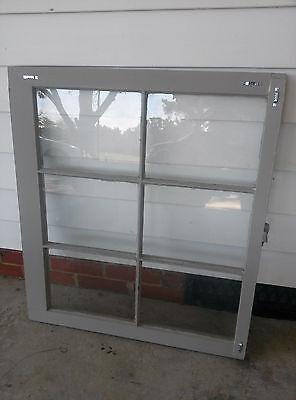 Old Vintage Unique Antique Window Frame 6 Pane Sash 32X28 Painted Gray 4