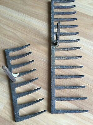 Vtg Antique Iron Rake Head Garden Tool Wine Rack Rusty Primitive Farm Lot Of 4