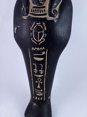 ANCIENT EGYPTIAN ANTIQUE USHABTI Shabti Hold Scarab Figure Black Stone Bc (2) 3