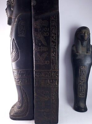 ANCIENT EGYPTIAN USHABTI EGYPT Statue Tomb King and Scarab and Isis 300 Bc