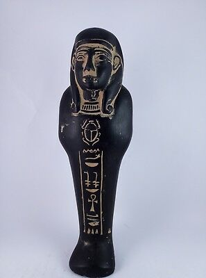 ANCIENT EGYPTIAN ANTIQUE USHABTI Shabti Hold Scarab Figure Black Stone Bc (2) 2
