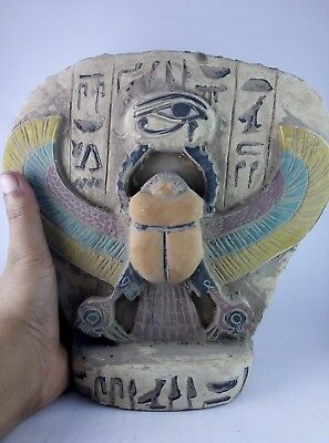 RARE ANCIENT EGYPTIAN ANTIQUES Scarab and Eye of Horus Goddess Egypt Stone Bc 2