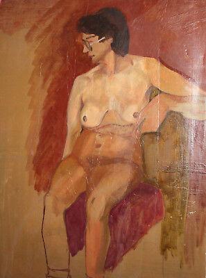 Vintage European large oil painting nude 2