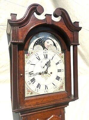 Antique Rolling Moon Phase Oak Mahogany Longcase Grandfather Clock HAYES WREXHAM 5