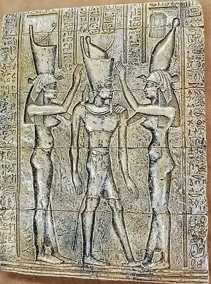 Ancient Egyptian Wall Tablet Plaque Ramses Tut Isis Anubis Horus 3