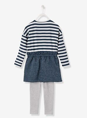 4# VERTBAUDET Ensemble fille robe bimatière + legging  – 4 YRS BNWT 2